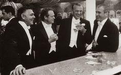 Clark Gable, Van Heflin, Gary Cooper, and Jimmy Stewart living the good life in 1957.