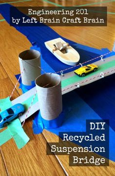 Make your own suspension bridge out of recycled materials.  Engineering 201: DIY Recycled Suspension Bridge from Left Brain Craft Brain #stem #craft #activity
