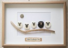 This is a beautiful small Pebble Art framed Picture - There is always One   handmade by myself using Pebbles, Driftwood, Wood , Merino Wool  Size of Picture incl Frame : approx. 32cm x 23cm  Thanks for looking Doris