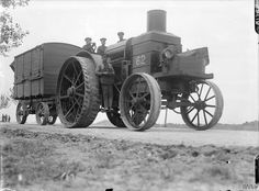 A British heavy Foster Daimler tractor on the Amiens-Albert road, September 1916