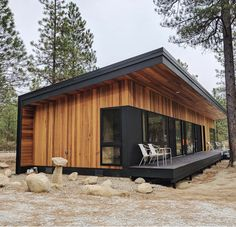 From beautiful Container Home. I watch Grand Designs on Netflix and i see people building houses for -… Container Home Designs, Tiny House Living, Tiny House Cabin, Small House Design, Modern House Design, Casas Containers, Style At Home, Prefab Homes, Prefabricated Cabins