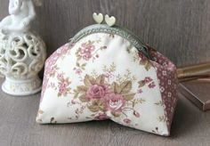 Cosmetic Bag with Heart Frame - Roses Clasp Pouch/ Plum Sweet Bag / Milk White frame clutch - Bridesmaid Wedding Bag Pouch