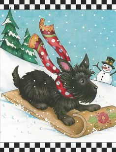 MARY ENGELBREIT BRAND 6 Blank CHRISTMAS Note Cards w/Envelopes SCOTTY DOG New