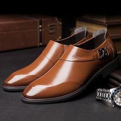 Men Microfiber Leather Pointed Toe Slip On Formal Dress Shoes