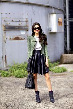 LookBook Store jacket, Eleven Paris skirt, Nine West X InStyle boots, Celine bag and sunnies