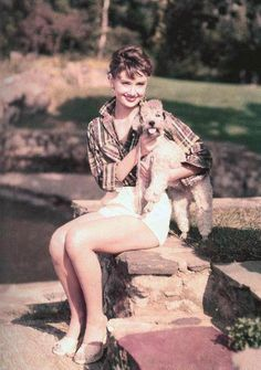 Audrey Hepburn and her dog