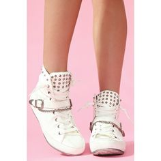 Alexander Spiked Sneaker - White ($95) ❤ liked on Polyvore