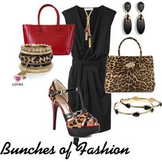 Black, red, and leopard. It's all about the shoes!, created by cford32 on Polyvore