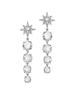 Anzie - Aztec Graduated Starburst Earrings - Clear Topaz