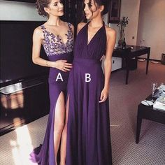 Elegant a-line long purple prom dress