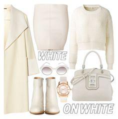 """How to Wear Winter-White"" by helenevlacho ❤ liked on Polyvore featuring Marc Jacobs, ADAM, ZALORA, Dsquared2, Nine West, MM6 Maison Margiela, Prada, contest, WhiteOnWhite and minimalism"