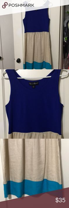 Mercer & Madison Color Blocked Dress 100% Linen. Blue, tan, and Turquoise. Zips up the side. 2 Mercer & Madison Dresses
