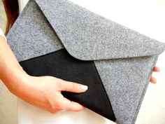 "Laptop 14""-16"" Size Grey Felt Sleeve Brief Case Clutch with Black Micro Suede  CASE Made from high quality wool felt, grey color, thickness 3mm - 1/8"" and arround 1/5"" (5 mm) thick,..."