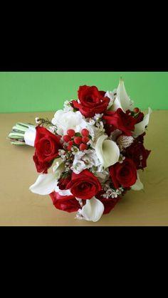 Red & white bride bouquet