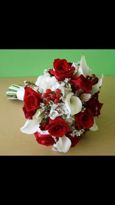 Red & white bride bouquet