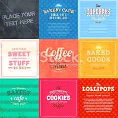 Food paper labels set Royalty Free Stock Vector Art Illustration
