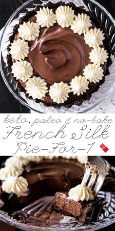 Paleo, Vegan & Keto French Silk Pie For-1 No-Bake & Ultra-Chocolatey! #keto #ketodesserts #healthyrecipes #paleo | Posted By: DebbieNet.com
