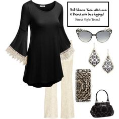 Styled with lace, love the lace leggings :  contests > New Trend: Bell-Sleeve Dresses by im-karla-with-a-k on Polyvore featuring H&M, Casetify, Jimmy Choo, Kendra Scott and Rock Rebel
