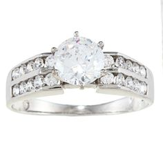 Alyssa Jewels 14k White Gold 2ct TGW Clear Cubic Zirconia Engagement-style Ring (Size 6), Women's