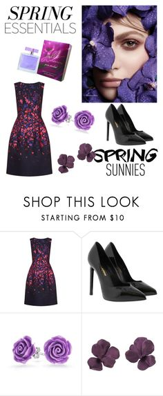 """""""Spring essentials"""" by emrah-sekic ❤ liked on Polyvore featuring beauty, Oscar de la Renta, Yves Saint Laurent, Bling Jewelry, purple, black, springessentials and springsunnies"""
