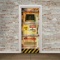 Door Decal   Self Adhesive Vinyl   Beware Of Zombies   Secret Lab Door Wrap