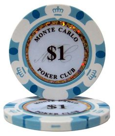 """50 .... $9.99. These 14 gram Monte Carlo clay poker chips will bring the look and feel of a casino card room to any home game. A unique and attractive edge design surrounds an inlay that displays the denomination of each chip, the words """"Monte Carlo Poker Club"""", and a dazzling laser graphic strip that makes these chips sparkle and shine. These chips are eye-catching as well as classy."""