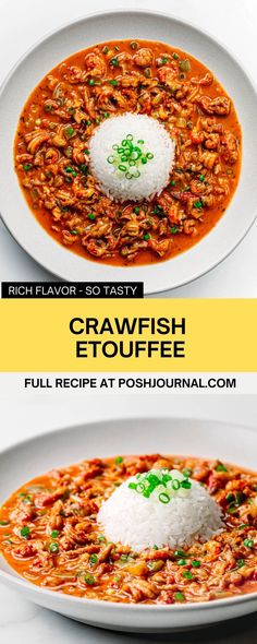 This crawfish etouffee is so rich and delicious. It's one of the most popular Creole and Cajun foods that anyone can make at home. It takes some time to prepare, but all can be done in easy cooking steps. It's definitely much faster and cheaper than take-out. #cajun #creole #crawfish #seafood #stew