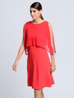 #Damen #Alba #Moda #Kleid #mit #raffiniertem #ChiffonÜberwurf #rot #04055716494618 #mode #ootd #outfit #fashion #style #online