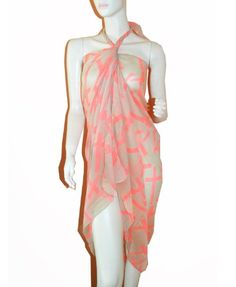 6e54d089ec SCARF TRADINGINC Cross Chiffon Pareo Wrap Shawl Sarong Swimsuite Coverup  white coral   You can get more details by clicking on the image.