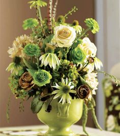 A green flower arrangement is a great way to bring color in to your home! #joannhandmade