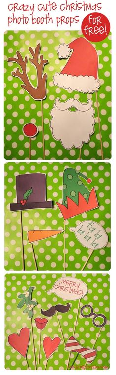 Free Printable Christmas photo booth props by kidstoothfairy