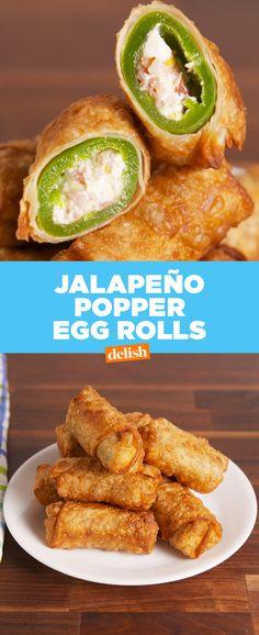 We just made Jalapeno Poppers on CRACK. Get the recipe at Delish.com. #delish #recipe #easyrecipe #eggroll #jalapeno #jalapenopopper #app #appetizer