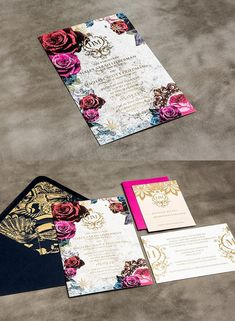Striking Gold and Lace Wedding Invitation Kits   http://www.deerpearlflowers.com/striking-gold-lace-wedding-invitations/