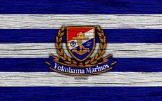 Download wallpapers Yokohama Marinos, 4k, emblem, J-League, wooden texture, Japan, Yokohama Marinos FC, soccer, football club, logo, FC Yokohama Marinos