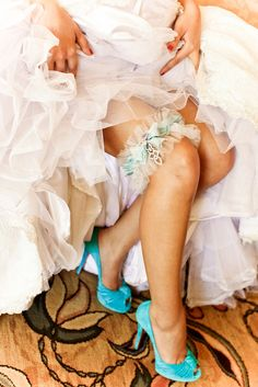 """We always love finding unique touches and ways of incorporating wedding traditions, like the """"something blue"""" details, for weddings. So when our """"bride"""" wanted to match our beautiful Creative Touch tulle, silk and swarovski crystal garter to her Christian Louboutin shoes, we couldn't resist but to share the gorgeous images! How fabulous is this idea for a fun """"something blue"""" option for your wedding?! 