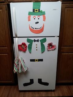 St. Patrick's Day Leprechaun Refrigerator Decoration made from construction paper.