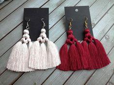 Diy Tassel Earrings, Silk Thread Earrings, Fabric Jewelry, Macrame Jewelry, Fringe Earrings, Beaded Earrings, Boho Jewelry, Jewelry Crafts, Handmade Jewelry