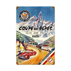 Retro Coupe Des Alpes Metal Sign 24 x 36 Inches Inches, $47.97 #retro #vintage #metalsigns #tinsigns #homedecor #bardecer #gameroom #garage