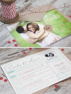Invitación postal fotos novios. Modelo Travel #wedding #invitation #stationery