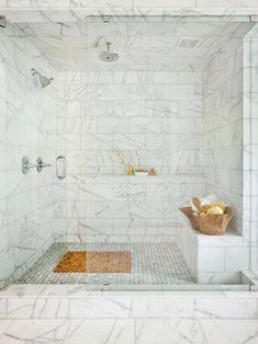 Beautiful Marble Spa Shower | HGTV >> http://www.hgtv.com/design-blog/design/treat-yo--self-day--our-editors-share-their-dream-splurges?soc=pinterest