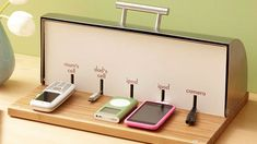 Convert a Bread Box into a Charging Station -DIY.  I need this to organize the chaotic mess of cords on my kitchen counter!