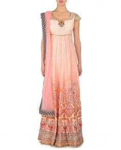 Printed Blush Peach Anarkali Suit - JJ Valaya - Designers