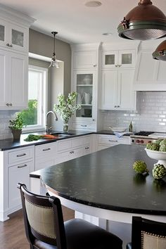 My next kitchen - Black and White - Georgica Pond like the glass doors at top