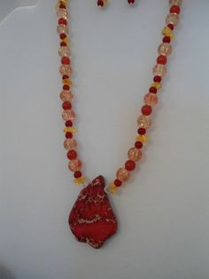 Ember Glow: Necklace & Earrings Set Jasper Necklace Orange Czech Glass Necklace Red Ruby Necklace Amber Necklace