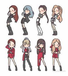 Blackpink in your area. Kpop Drawings, Cute Drawings, Chibi Tutorial, Chibi Manga, Chibi Eyes, Chibi Cat, Bts Chibi, Blackpink Poster, Blackpink Memes