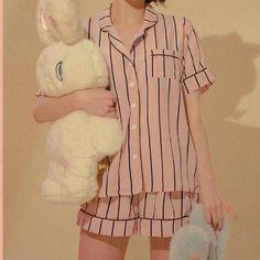 🍑chuu pajama set of stripe top+ striped bottoms + striped hair band. super cute and popular in korea! you get all 3 items! price is firmmm mixxmix stylenanda yesstyle kfashion cfashion dollskill unif lazy oaf brandy meville korean chinese - Depop Pajamas For Teens, Pajamas Women, Cute Sleepwear, Sleepwear Women, Cozy Pajamas, Pyjamas, Satin Pyjama Set, Pajama Set, Mens Silk Pajamas