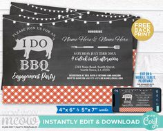 I Do BBQ Invitation Couple's Shower Printable Invite Engagement Party INSTANT DOWNLOAD Check Lights Red Plain Chalk Pig Editable WIDB_026 Printing Websites, Printing Services, Online Printing, Printable Invitations, Printables, I Do Bbq, Event Page, Couple Shower, Rehearsal Dinners