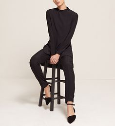 INAYAH | Smart Sophistication Coal High Neck Rayon Top Coal Straight Leg Rayon Trousers www.inayah.co