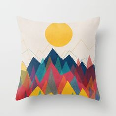 simple abstract geometric organic contemporary shape of mountain and sun in optimistic color.<br/> <br/> abstract, geometric, vintage, retro...