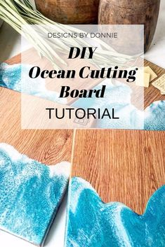 DIY Ocean Cutting Board TUTORIAL - Learn how to make a cutting board using Epoxy Resin to make an Ocean look! Step-by-step instruction - Epoxy Resin Table, Epoxy Resin Art, Diy Resin Art, Diy Epoxy, Diy Resin Crafts, Wood Resin, Wood Crafts, Diy Resin Projects, Wood Projects
